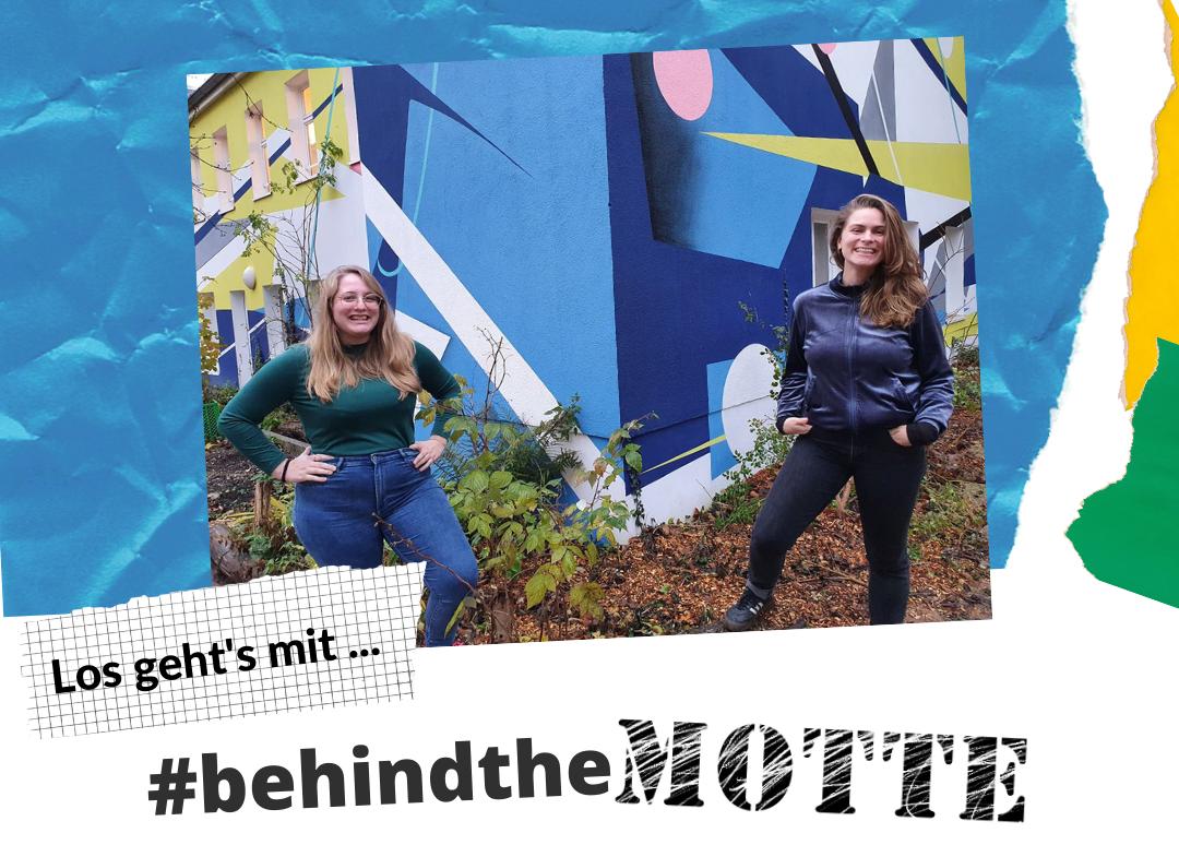 Mareike Franke und Alena Ottersbach posieren im Garten für das Titelbild der Interviewkampagne #behindtheMOTTE