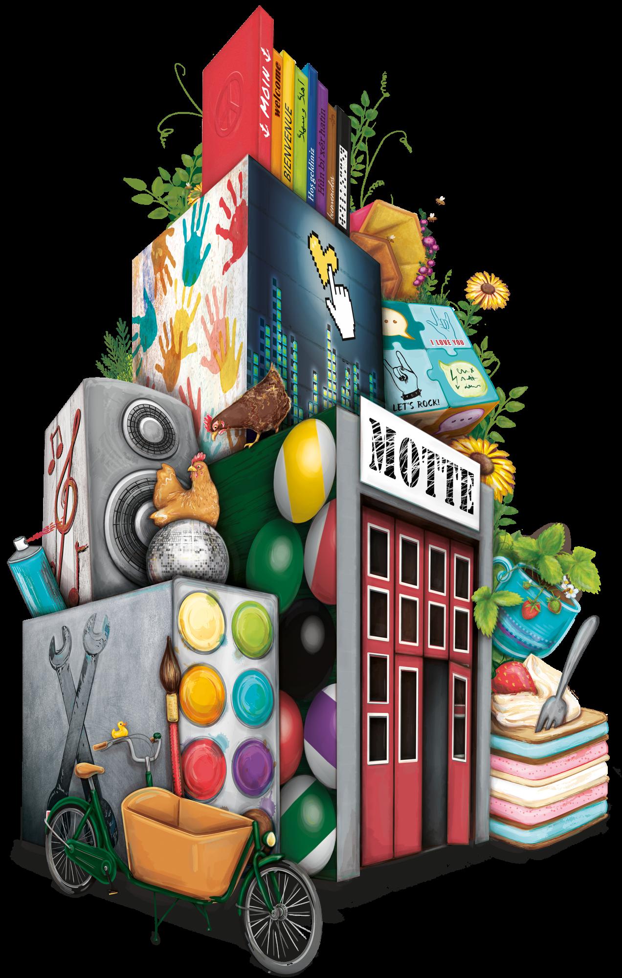 Illustration für das MOTTE-Jubiläum, bestehend aus diversen Objekten und Symbolen, die mit der MOTTE verbunden werden. Zum Beispiel Hühner, Werkzeuge, Gebärdensprache, Blumen und Bücher.